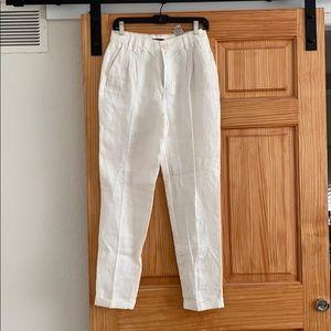 Massimo Dutti White Linen Pants Trousers NWOT